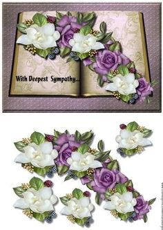 Sympathy Book Roses camelias on Craftsuprint designed by Marijke Kok - beautiful sympathy book with heritage roses and camelias,for a great sympathy card... - Now available for download!