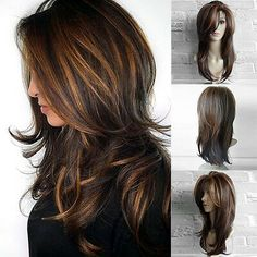 2018 Women's fashion Front Wigs Loose Wave Synthetic Heat Resistant Middle Parted Natural brown Linen Wig Human Hair Wig PS wig cap Medium Hair Styles, Curly Hair Styles, Natural Hair Styles, Wig Styles, Wig Hairstyles, Straight Hairstyles, Long Hairstyles With Layers, Long Layered Hair With Side Bangs, Layers For Curly Hair