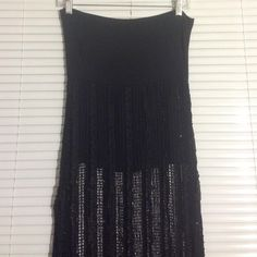 Sexy Black Fishnet Skirt- Size S Gorgeous Black See through long skirt with attached short skirt underneath- The waist band could be folded for length adjustment-It has scattered sequins with ribbons works all over. Skirts