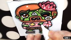 Halloween Drawings - How To Draw Cute Zombie by Garbi KW