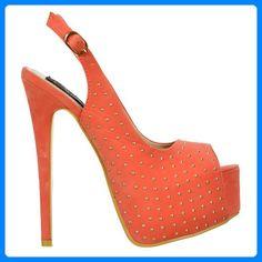 Onlineshoe Women's Peep Toe High Heels Studded Slingback Stilettos Suede Pump for sale Stilettos, High Heels, Mary Janes, Suede Pumps, Shoe Collection, Peep Toe, Wedding Shoes, Peeps, Coral