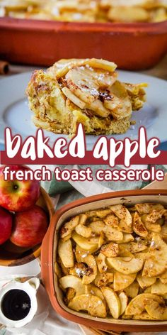 This baked apple French toast casserole is an easy to make breakfast casserole perfect for holiday breakfast or brunch. You can prepare it and bake it right away or refrigerate it overnight to bake in the morning. Made with apple bread, Egg Beaters, milk and apples. #ad #minustheshell @Walmart #applefrenchtoast #bakedfrenchtoast #frenchtoast #frenchtoastcasserole