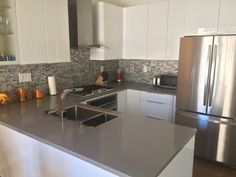 Contemporary California Kitchen Renovation featuring Barlume Metallo Linear Mosaic #Contemporary #Kitchen #Backsplash
