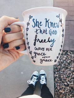 Grace upon grace // Coffee Mug // John 116 by CupfullofJoy on Etsy