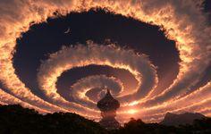 Hemel, ruimte, wolken, spiraal, 3-d, structuur, bos, toren, zonsondergang, sterren, zon koepel, spits, 's avonds wallpaper