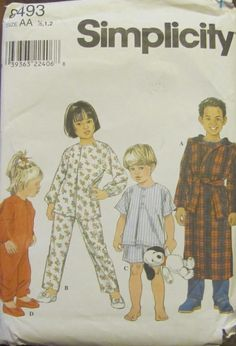 90s Simplicity 8493 Toddlers' and Child's by SewYesterdayPatterns (Craft Supplies & Tools, Patterns & Tutorials, Sewing & Needlecraft, Sewing, commercial, sewing pattern, childrens pattern, simplicity pattern, craft supplies, toddler pattern, sleepwear pattern, size 1 hlaf 1 2, childrens pajamas, pajama pattern, sewing supplies, 1990s pattern, vintage pattern)