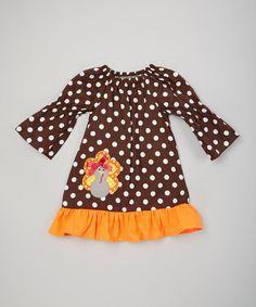 Love this Brown & Orange Polka Dot Turkey Dress - Infant, Toddler & Girls by Royal Gem on #zulily! #zulilyfinds