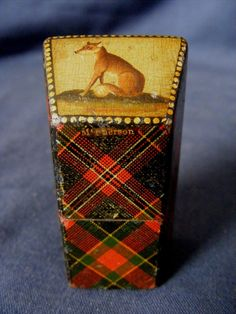 Antique Tartan Ware needle case with painting of A fox