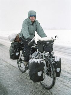 Ortlieb panniers will take you anywhere! Cool pic found on CycloCamping.com
