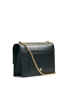 "<ul> <li>Luxe leather shapes a chic, shoulder-ready staple</li> <li>Convertible crossbody chain, 12""-21"" drop</li> <li>Magnetic flap top closure</li> <li>Two outside open pockets</li> <li>One inside zip pocket</li> <li>Key hook</li> <li>Fully lined</li> <li>Includes coin purse, cell phone case, and dust bag</li> <li>12""W X 8""H X 3""D</li> <li>Leather</li> <li>Imported</li> </ul>"