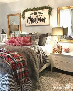 Christmas Bedroom Decor: 25 Ideas for a Cozy Holiday Bedroom! : Page 23 of 25 : Creative Vision Design Farmhouse Christmas Decor, Cozy Christmas, Holiday Decor, Christmas Room Decorations, Christmas Movies, Christmas Cactus, Christmas Vacation, Cabin Christmas Decor, Country Christmas
