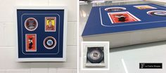 This amazing #sports #montage uses two signed players #cards and two #hockey #pucks recessed in deep moulding from @larsonjuhl. Because the cards are valuable, we used mounting strips to hold them in place without any adhesives touching the cards. As well, the pucks sit in their own little boxes build on the back of the mat to again avoid glue and tape. This beautiful white curve in the mat is just one of the cuts are team can give your piece. #sportsmemorabilia #hockey #customframing