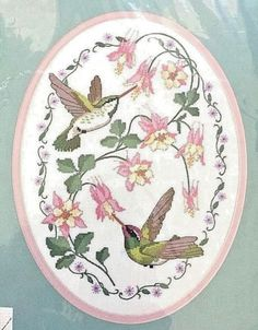 Dimensions-3981-Sealed-Hummingbirds-and-Columbine-No-Count-Cross-Stitch-Kit-Oval