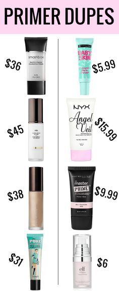 Houston blogger Meg O. on the Go shares with us some amazing makeup primer dupes! Beauty Make-up, Beauty Dupes, Beauty Hacks, Natural Beauty, Beauty Land, Beauty Vanity, Face Beauty, Beauty Shop, Natural Makeup