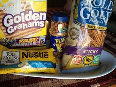 All you need is only 4 ingredients: 1 box Golden Grahams 2-lbs white chocolate chips 1-16oz bag pretzels slightly broken 3 cups nuts-(we like half honey roasted peanuts and half cashews)