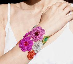 Crochet wire bracelet Statement  flower wrist corsage by GlamCro, $160.00