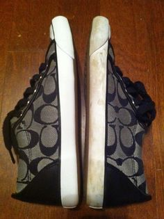 Nail-Polish Remover Removes Stains From Tennis Shoes.  Shoe on the left has just been cleaned!