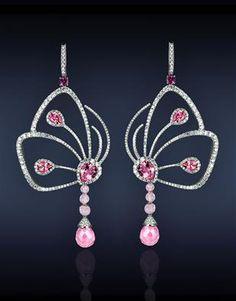 Jacob &Co. diamonds & pink tourmaline earrings