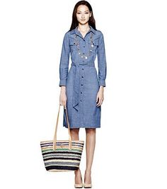 Love this chambray Tory Burch belted dress. On sale now