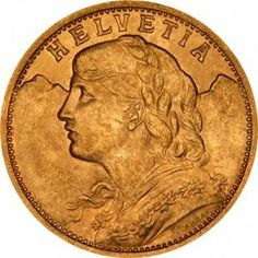 The Swiss 20 Franc Gold Coin was first created in 1492 and is one of the most beautiful coins ever minted. The Swiss 20 Gold Franc Coins were officially issued by Switzerland from 1897 to 1949.