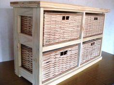 Mueble Organizador,canastero X 4 Canastos de Mimbre - horizontal-.NUEVOS