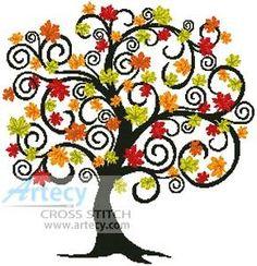 Decorative Autumn Tree cross stitch pattern.