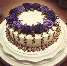 "WILTON METHOD - Course 1 ""Decorating Basics"" Royal Purple Cake Made by Kiyomi Sakamoto"