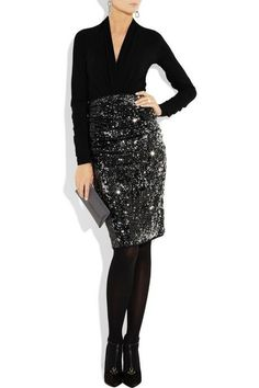 Draped sequined jersey pencil skirt by Donna Karan Looks Style, My Style, Skirt Outfits, Sequin Skirt Outfit, Sequined Skirt, Donna Karan, Fashion Outfits, Womens Fashion, Dress Me Up