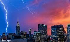 Lightning Strikes World Trade Center At Sunset Time