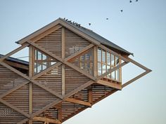 Bird Observation Tower on Graswarder - Projects - gmp Architekten Architecture Cool, Organic Architecture, Contemporary Architecture, Classical Architecture, Architecture Organique, Timber Structure, Tower Design, Ville France, Cute House