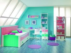 Oh my gosh I love this room so much I wish it was my room! Girls Bedroom Colors, Girl Bedroom Designs, Kids Bedroom, Bedroom Decor, Awesome Bedrooms, Cool Rooms, Dream Rooms, Dream Bedroom, Toddler Room Organization
