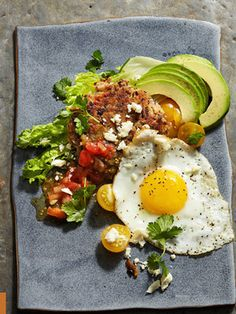 Huevos with Black Bean Hash Browns and Avocado