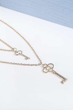 Bella Key Pendant Layered Necklace at boohoo.com