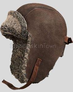 7553cb66205 Ultimate Shearling Sheepskin Pilot Hat - Brown Trooper Hat