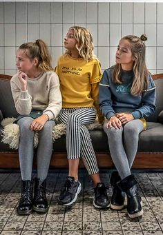 GIRLS IN STYLE! #street #called #madison #classic #girlslook #meisjes #kindermode #geel #stripes #sweater #trui #outfit #inspiratie Kid Styles, Tights, Stripes, Sweater, Classic, Girls, Outfits, Beautiful, Fashion