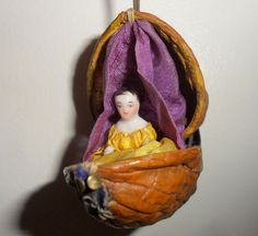 Exquisite Victorian China Doll In Walnut c1880 from theluckyblackcat on Ruby Lane