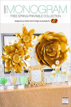   Gold Bridal Shower   FREE Spring Printables!   http://soiree-eventdesign.com
