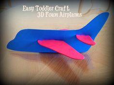 3D Foam Airplane #craft for toddlers via www.jmanandmillerbug.com