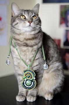 Kiki and the amulet #soutache #green #necklace #mabanecklace #cat #gatto #gatta #cats #eyes #pursesandi #! #kikithesweetycat #pursesandi #cat #gatto #cruciani #braccialetticruciani #animals #catlovers #eyes #cute #nice #gatta #spring #ss2013 #colors www.pursesandi.net