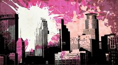Pop City 8 by Melissa Smith – Urban Art District. | Paint splatters and textures combine with urban scenes to create modern and interesting pieces of art.  Hang as a stand-alone print or order a couple and display as a stylish grouping.  Either way, your guests will fall in love with your artistic insight.  SHARE if you ♥ it!