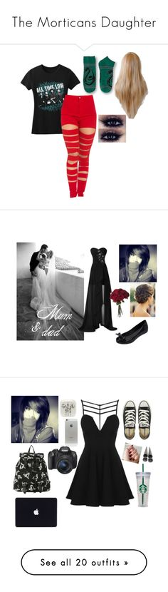 """""""The Morticans Daughter"""" by shaya-bvb-4-life ❤ liked on Polyvore featuring Melissa, Topshop, Converse, Paul Mitchell, Hot Topic, Eos, WALL, Vans, Nikon and CamelBak"""