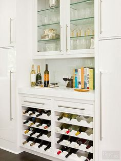 Customized cabinet inserts store wine bottles at an angle to ensure corks don't dry out and wine tastes its best. Wine storage without doors allows homeowners to easily see what wines are in stock. Shop for specialty wine bottle-storage inserts and roll-o Wine Storage Cabinets, Wine Rack Storage, Wine Rack Cabinet, Wine Shelves, Kitchen Storage, Wine Bottle Storage Ideas, Kitchen Wine Racks, Food Storage, Ikea Wine Rack