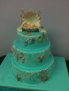 Ocean Theme Baby Shower | Sea themed baby shower cake - by milene @ CakesDecor.com - cake ...
