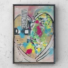 Love Abstract Mixed Media| Italian Amore Collage Artwork | Contemporary Art | Colorful Collage on Canvas Board | Wall Artwork | Love Romance Mixed Media Painting, Mixed Media Collage, Ink Painting, Pretty Art, Cute Art, Original Artwork, Original Paintings, Collage Artwork, Colorful Artwork
