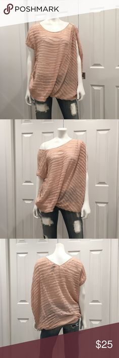 GUESS BY MARCIANO Off The Shoulder Blush Top Preloved Guess by Marciano blush one shoulder top. Great with denim or cut off shorts. Wore once a few years ago. Price reflects preloved condition (see photos). Size S US. Smoke-free home. Sorry no trades. Bundle and save 10%. Offers accepted. Guess by Marciano Tops Blouses