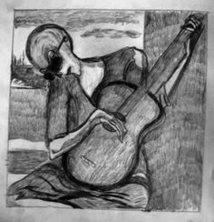 ALIEN GUITARIST pencil sketch Gregory McLaughlin