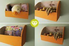 Organizador com caixote de madeira.