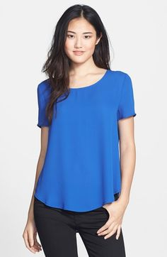 95555523028 Pleione Pleat Back Woven Print Top (Regular  amp  Petite) available at   Nordstrom