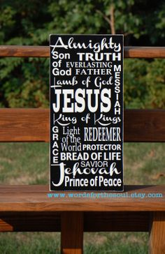 Names of Jesus Christian Scripture Subway Art by WordsForTheSoul, $65.00
