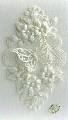 handmade wedding card from Paper Fever ,,, white on white . layers of die cut flowers, flourishes and lacy frame . Wedding Cards Handmade, Greeting Cards Handmade, Butterfly Cards, Flower Cards, White Butterfly, Butterfly Wedding, Wedding Flowers, Parchment Cards, Karten Diy